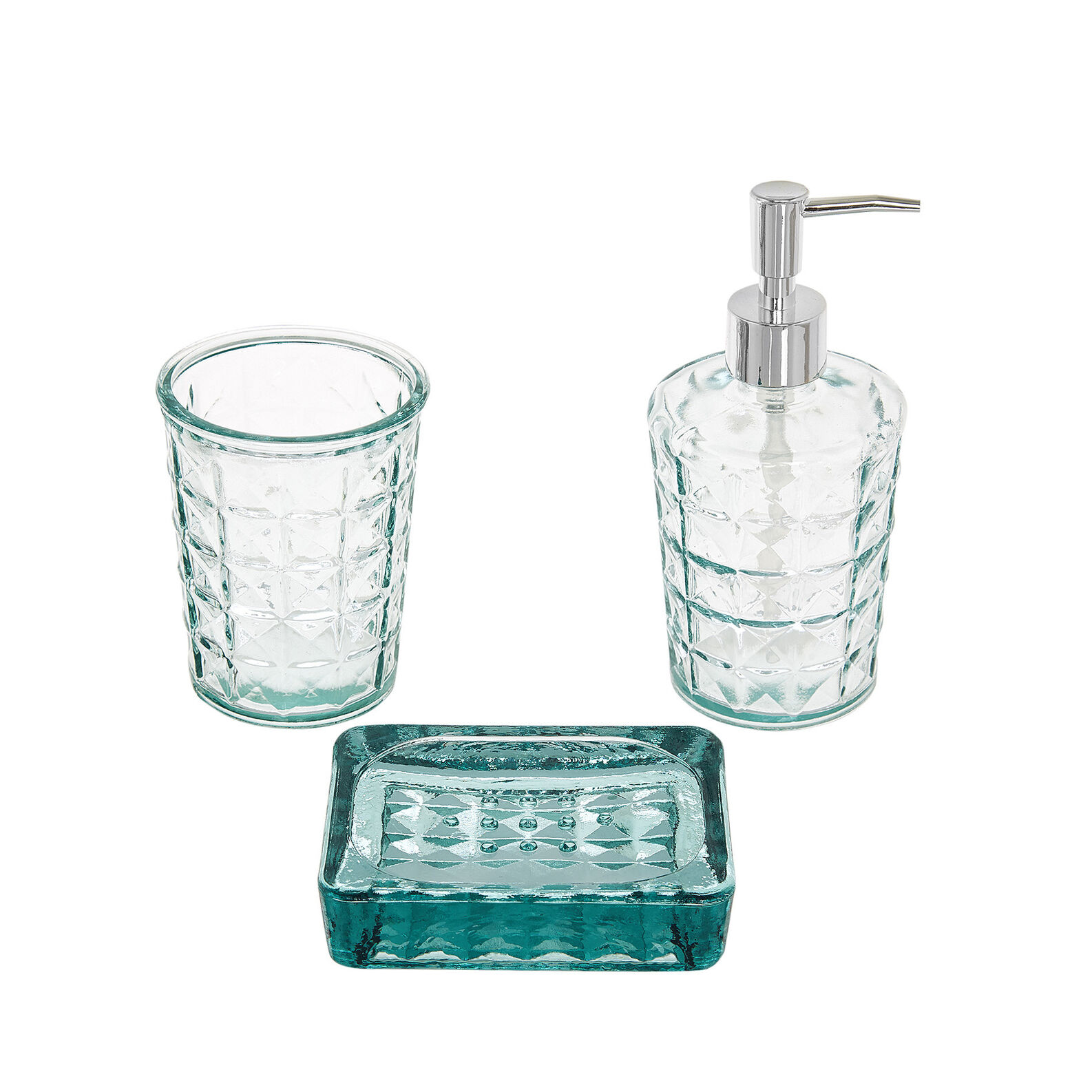 Set of 3 bathroom accessories in recycled glass