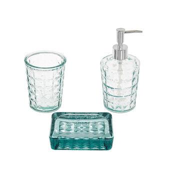 Set 3 accessori bagno vetro riciclato