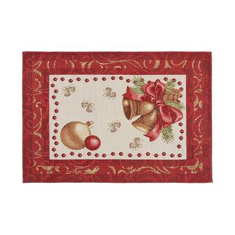 Gobelin fabric table mat with lurex Christmas motif