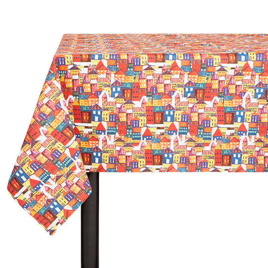 Cotton twill tablecloth with house print