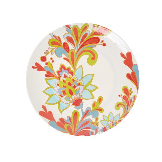 Melamine dinner plate with red flower