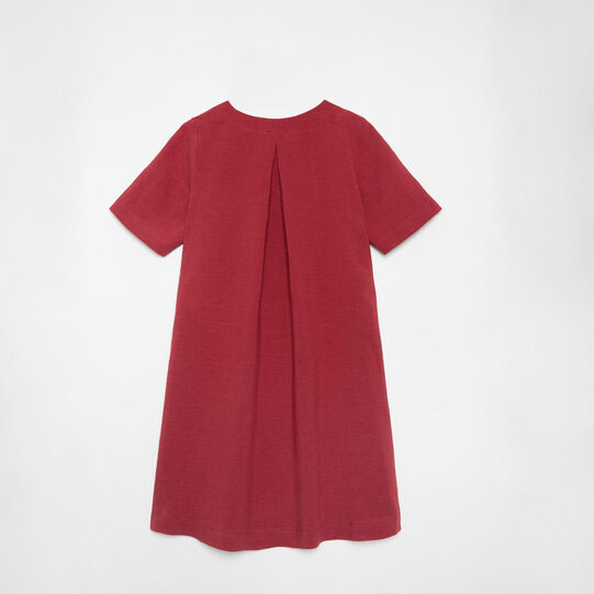 Solid colour 100% linen flared dress