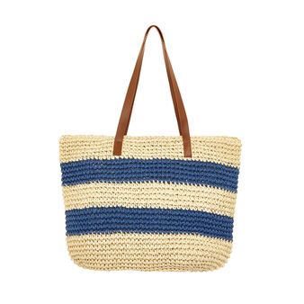 Striped woven beach bag