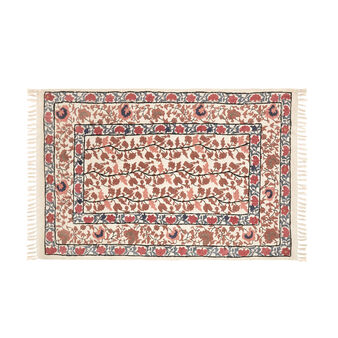 Hand-embroidered cotton rug