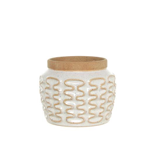 Cachepot in ceramica con decoro onde