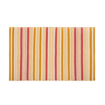 100% cotton mat with yarn-dyed stripes