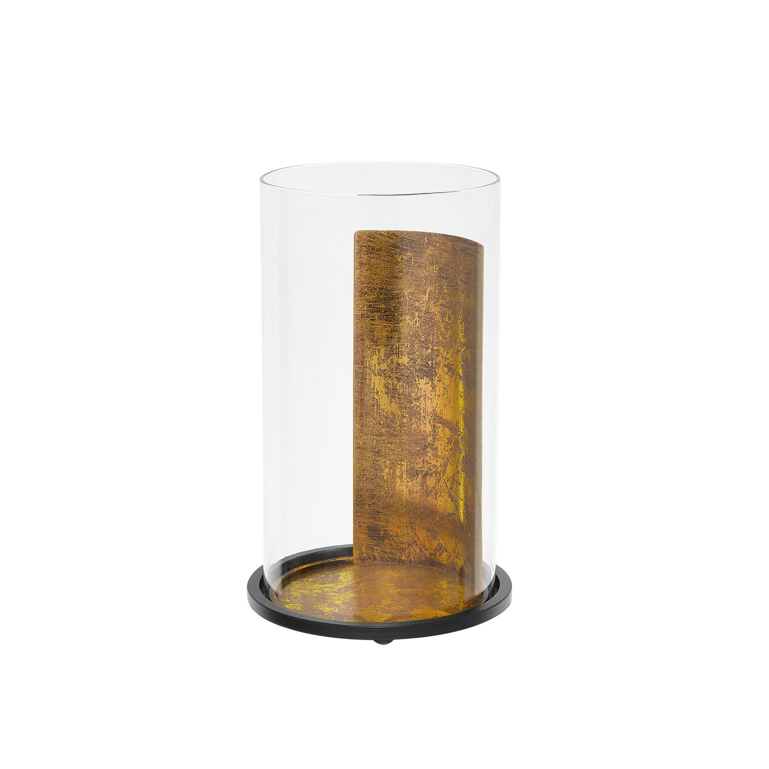 Glass and metal windproof candle