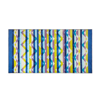 Velor cotton beach towel with geometric pattern