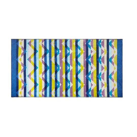 Velor cotton beach towel with geometric pattern