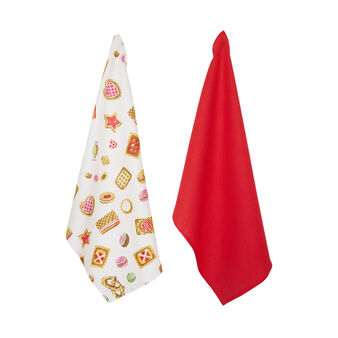 Two-pack 100% cotton tea towels with cookies print by Sandra Jacobs design