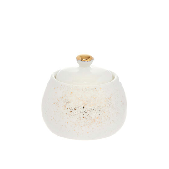 Porcelain sugar bowl sprayed gold