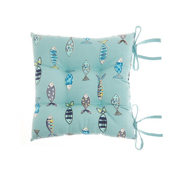 100% cotton seat pad with fish print