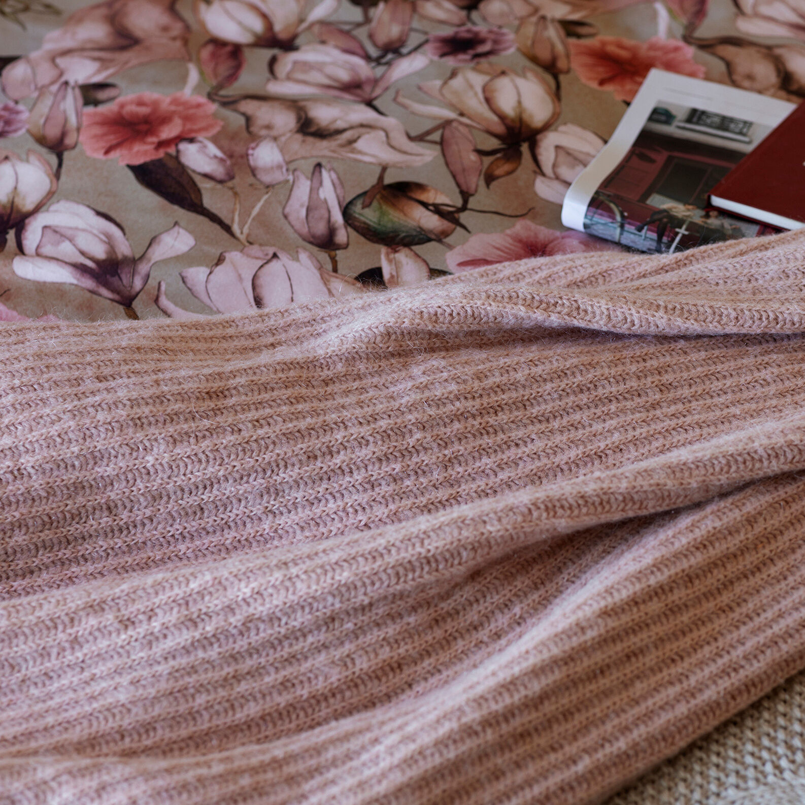 Solid colour mohair wool throw