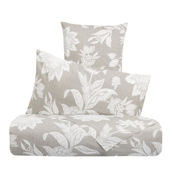 Duvet cover set in cotton percale with leaf pattern