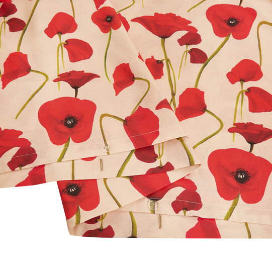 Cotton percale duvet cover with poppy pattern