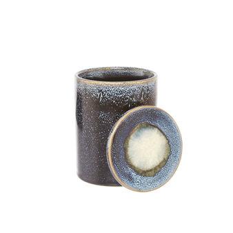 Ceramic box with reactive glazes.
