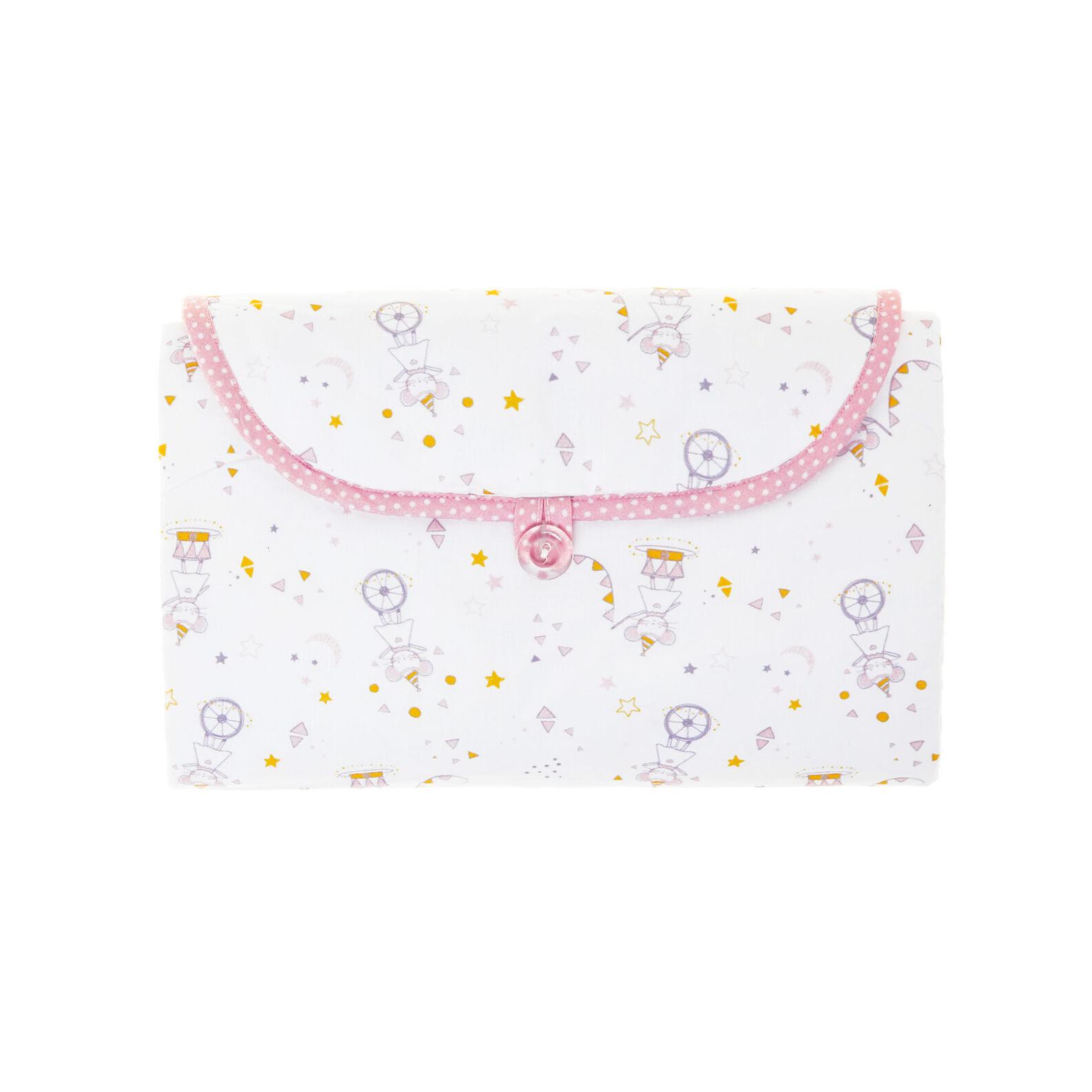 100% cotton percale folding changing mat with girl mice and polka dots