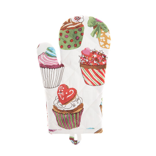 Cotton twill oven mitt with cupcakes print