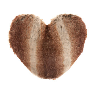 Synthetic fur heart-shaped cushion