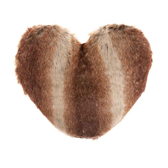Synthetic fur heart-shaped cushion