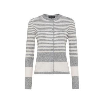Cardigan misto lana merinos e cashmere a righe