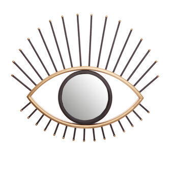 Mirror with iron eye-shaped frame
