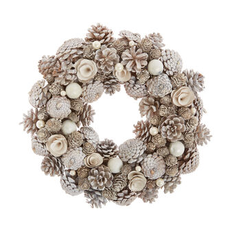Hand-made wreath of flowers and pine cones