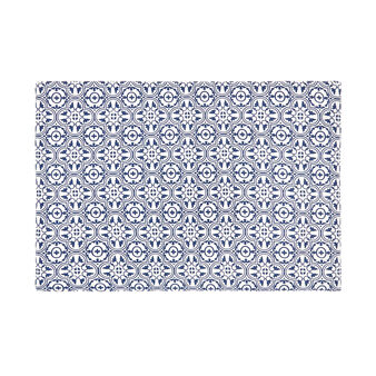 Lined cotton table mat with majolica print