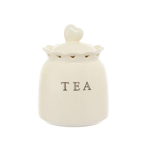 Ceramic tea jar with openwork hearts