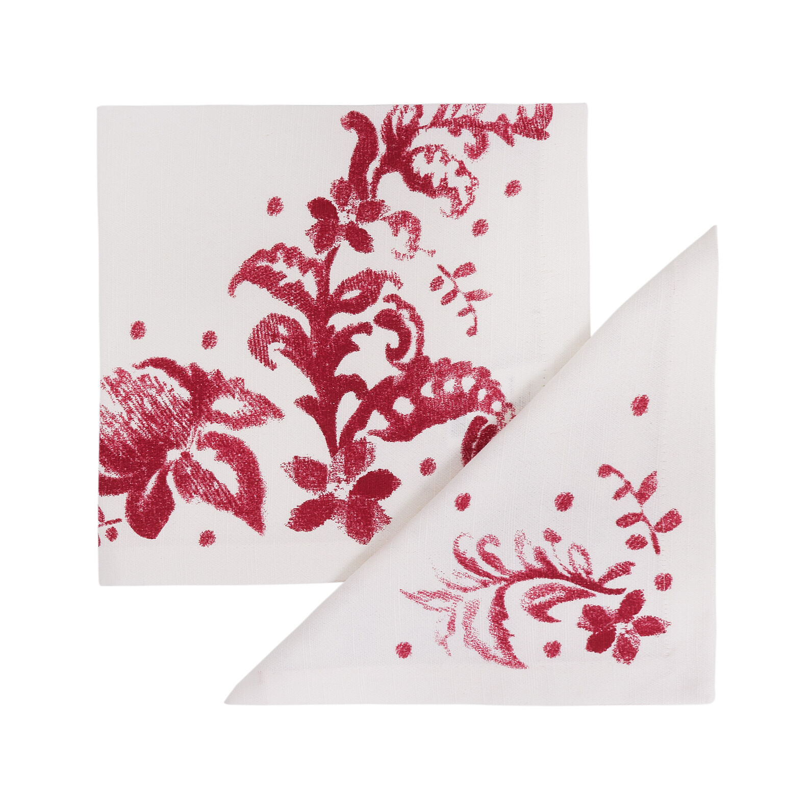 Set of 2 napkins in 100% cotton with floral print