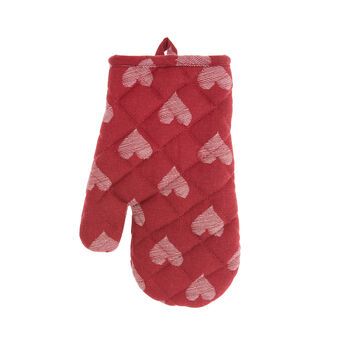 Oven mitt in 100% cotton with hearts print