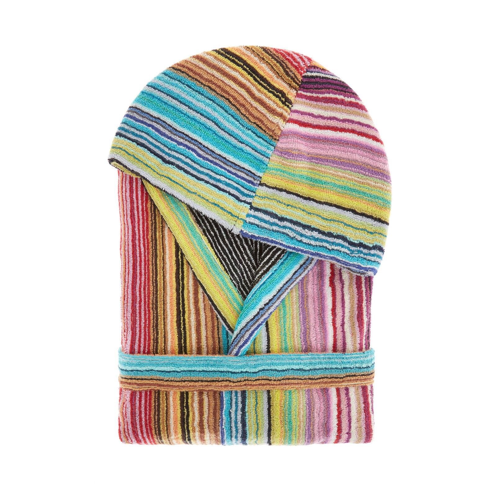 Multiple-striped pure cotton jacquard bathrobe