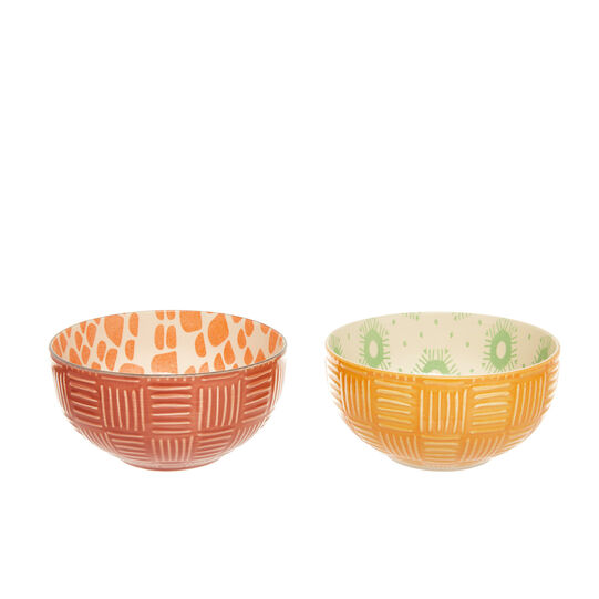 Small stoneware bowls with patterned motif