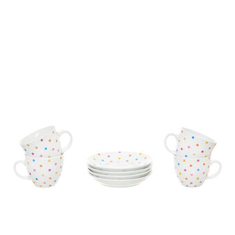 Set of 4 tea cups in polka dot porcelain