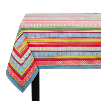 100% cotton tablecloth with patchwork stripes