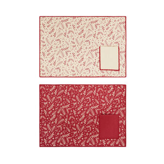 Set of 2 table mats in 100% cotton with pocket