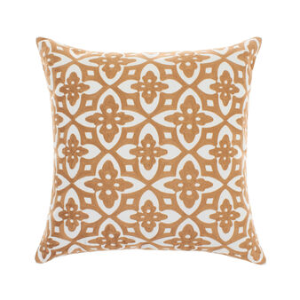 Cotton cushion with geometric embroidery
