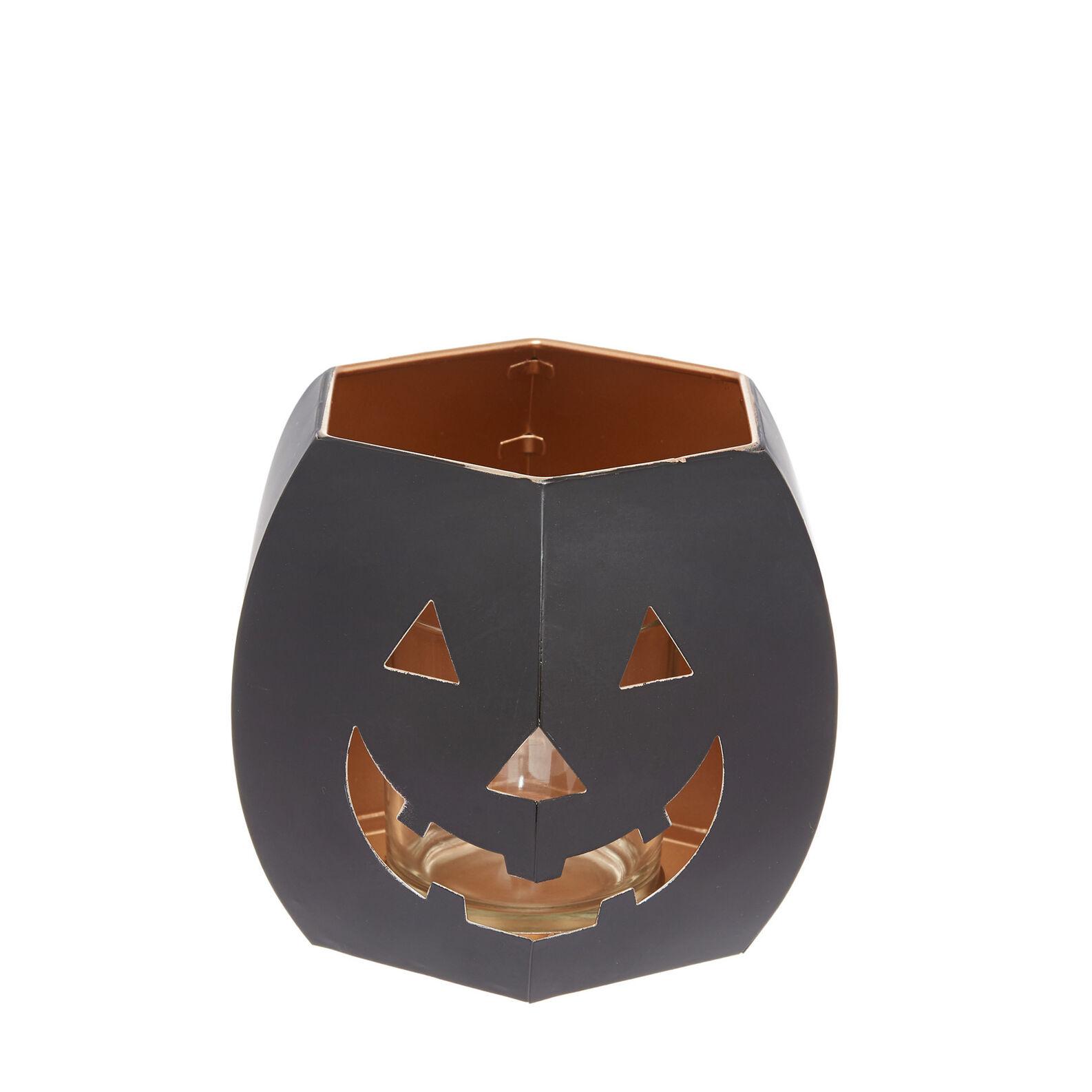 Metal pumpkin-shaped lantern