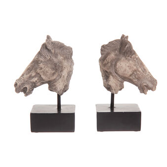Horse's head bookends in polyresin