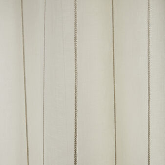 Pinstriped linen curtain with hidden tabs