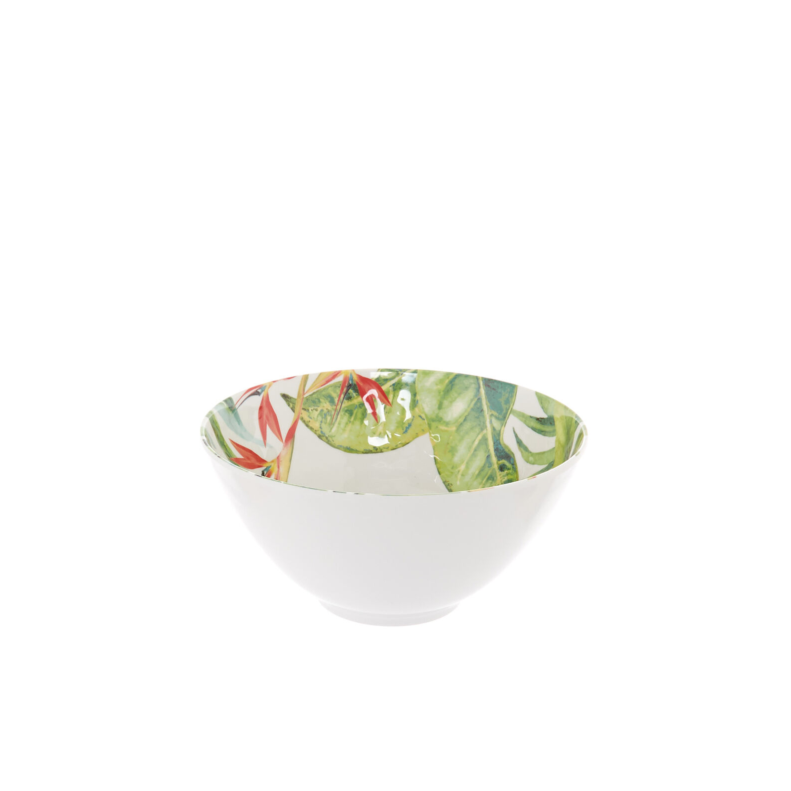 Small melamine bowl with tropical leaves motif