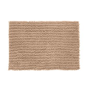 Shaggy bath mat in microfibre.