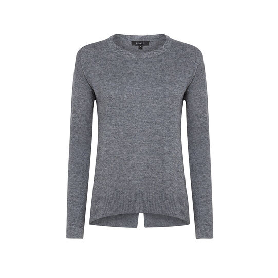 Solid color merino wool and cashmere blend pullover