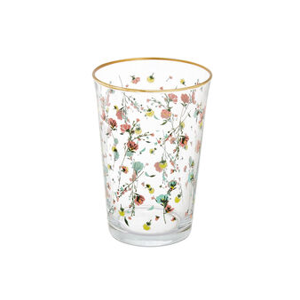 Glass tumbler with flowers decoration