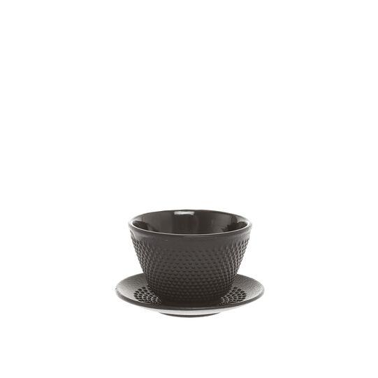 Decorated cast iron tea cup