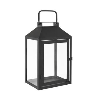 Lantern in black metal and glass