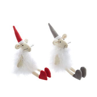 Set of 2 hand-made decorative mice