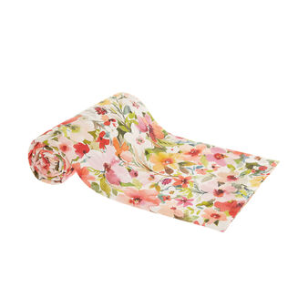 Cotton throw with flower print