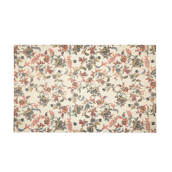 Cotton bedside rug with floral print