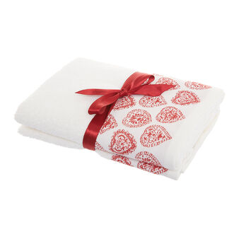Set of 2 towels with Christmas hearts motif